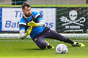 Forest Green Rovers goalkeeper Sam Russell(23) warming up during the EFL Sky Bet League 2 match between Forest Green Rovers and Accrington Stanley at the New Lawn, Forest Green, United Kingdom on 30 September 2017. Photo by Shane Healey.