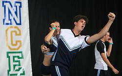 Irena Magliacane & Niki Meriggioli, Italy during Partner stunt at second day of European Cheerleading Championship 2008, on July 6, 2008, in Arena Tivoli, Ljubljana, Slovenia. (Photo by Vid Ponikvar / Sportal Images).
