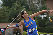 Ilaria Casarotto of UCLA wins the javelin at 169-1 (51.53m)  at 105-0 (32.00m) during an NCAA college dual meet in Los Angeles, Sunday, April 28, 2019.