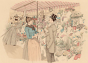 Flower market in the Madeleine, Paris, France.  The man has chosen a bunch of lilac.   From 'Paris Brillant' by 'Mars' (Maurice Bonvoisin - 1849-1912) (Paris, c1890). Lithograph.
