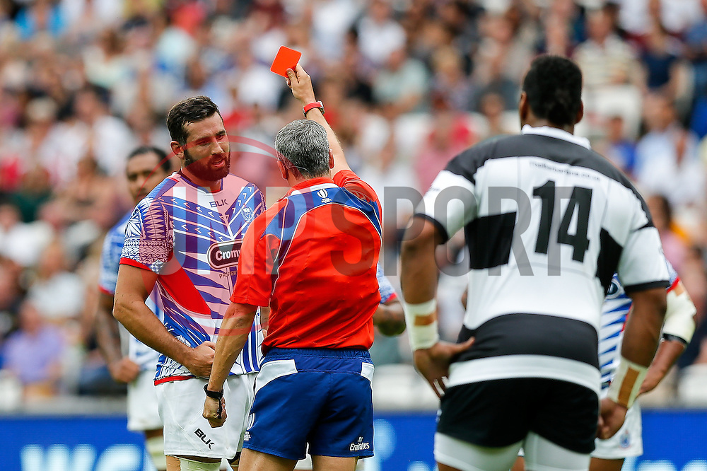 Samoa Lock Kane Thompson is shown a red card by referee John Lacey (IRE) - Mandatory byline: Rogan Thomson/JMP - 07966 386802 - 29/08/2015 - RUGBY UNION - The Stadium at Queen Elizabeth Olympic Park - London, England - Barbarians v Samoa - International Friendly.