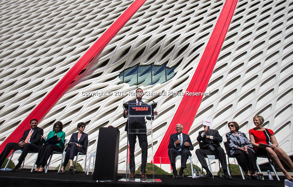 Los Angeles mayor Eric Garcetti speaks during the civic dedication at The Broad on September 18, 2015 in downtown Los Angeles.  The Broad, the contemporary art museum built to house the 2,000-piece collection acquired over decades by billionaire philanthropist Eli Broad and his wife, Edye. (Photo by Ringo Chiu/PHOTOFORMULA.com)