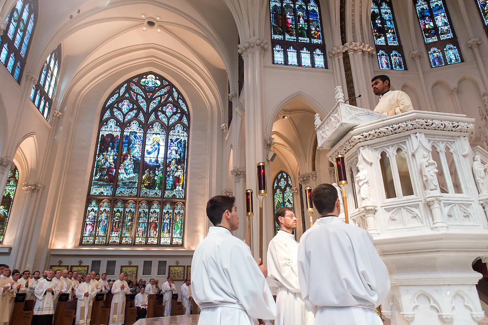 DENVER, CO - MAY 16: Priest Ordination for the Archdiocese of Denver at the Cathedral Basilica of the Immaculate Conception on May 16, 2015, in Denver, Colorado. (Photo by Daniel Petty/Denver Catholic Register)