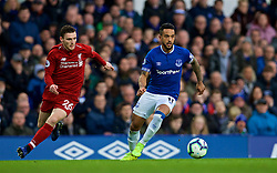 LIVERPOOL, ENGLAND - Sunday, March 3, 2019: Liverpool's Andy Robertson challenges Everton's Theo Walcott during the FA Premier League match between Everton FC and Liverpool FC, the 233rd Merseyside Derby, at Goodison Park. (Pic by Laura Malkin/Propaganda)