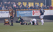 Christian Nade is downed with ahead knock after opening the scoring for Dundee - Alloa Athletic v Dundee, SPFL Championship at Recreation Park, Alloa<br /> <br />  - &copy; David Young - www.davidyoungphoto.co.uk - email: davidyoungphoto@gmail.com