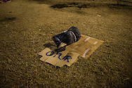 A protester sleeping under the stars in Besiktas.<br /> <br /> Musicians, artists, doctors, nurses, students, activists, environmentalists have joined the rallies against a government that they believe threatens their freedom and way of life. The Park (Gezi) became a symbol of civil resistence, a laboratory for a new culture of resistance.<br /> <br /> &quot;Chapulling (Turkish: &ccedil;apuling) is a neologism originating in the 2013 protests in Turkey, coined from Prime Minister Erdogan's use of the term &ccedil;apulcu (roughly translated to &quot;looters&quot;) to describe the protestors. &ccedil;apulcu was rapidly reappropriated by the protestors, both in its original form and as the anglicized chapuller and additionally verbified chapulling, given the meaning of &quot;fighting for your rights&quot;. Chapulling has been used in Turkish both in its English form and in the hybrid word form &ccedil;apuling.<br /> The word quickly caught on, adopted by the demonstrators and online activists.&quot;
