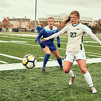 2nd year defender, Kyra Vibert (23) of the Regina Cougars during the Women's Soccer home game on Sat Oct 13 at U of R Field. Credit: Arthur Ward/Arthur Images