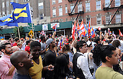 Human Rights Campaign joins in a rally outside the Stonewall Inn to celebrate today's Supreme Court ruling for marriage equality, Friday, June 26, 2015 in New York. (Diane Bondareff/AP Images for Human Rights Campaign)