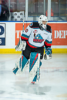 KELOWNA, BC - FEBRUARY 12: Roman Basran #30 of the Kelowna Rockets warms up on the ice against the Tri-City Americans at Prospera Place on February 8, 2020 in Kelowna, Canada. (Photo by Marissa Baecker/Shoot the Breeze)