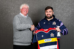 Jordan Williams of Bristol Rugby poses with his sponsors during the Bristol Sport player sponsor evening - Rogan/JMP - 19/03/2018 - SPORT - Ashton Gate Stadium - Bristol, England - Big Sports Breakfast 2017.