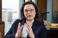 15 MAR 2018, BERLIN/GERMANY:<br /> Andrea Nahles, SPD Fraktionsvorsitzende, waehrend einem Interview, in ihrem Buero, Jakob-Kaiser-Haus, Deutscher Bundestag<br /> IMAGE: 20180315-01-004<br /> KEYWORDS: B&uuml;ro