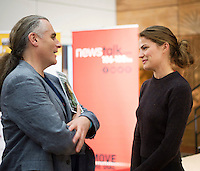 "First Thoughts Paul Fay Artistic Director GIAF  with with Top US Model Cameron Russell at the First Thoughts Talks  ""Looks Aren't  Everything"" in the Bailey Allen in NUI, Galway. Photo: Andrew Downes, Xposure."