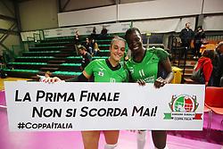 LANCELLOTTI ELISA (SASSUOLO) E OBOSSA JOSEPHINE (SASSUOLO)<br /> CANOVI COPERTURE SASSUOLO - ITAS CITTA' FIERA MARTIGNACCO<br /> PALLAVOLO SEMIFINALE COPPA ITALIA VOLLEY A2-F 2018-2019<br /> SASSUOLO (MO) 23-01-2019<br /> FOTO FILIPPO RUBIN / LVF