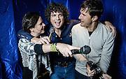 Times journalist Will Hodgkinson with Mara &amp; Crispin at the Karaoke Box, Soho December 4th  2015<br /> <br /> Photos Ki Price