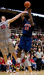 February 27, 2010; Stanford, CA, USA;  Arizona Wildcats forward Solomon Hill (44) shoots over Stanford Cardinal forward Jack Trotter (50) during the first half at Maples Pavilion.  Arizona defeated Stanford 71-69.