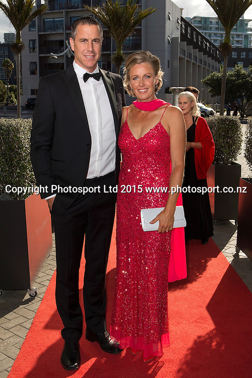 Rob and Sonia Waddell pose for a picture on the red carpet at the 52nd Halberg Awards. Halberg Disability Sport Foundation. Vector Arena, Auckland, New Zealand. Wednesday 11 February 2015. Copyright Photo: David Rowland / www.photosport.co.nz