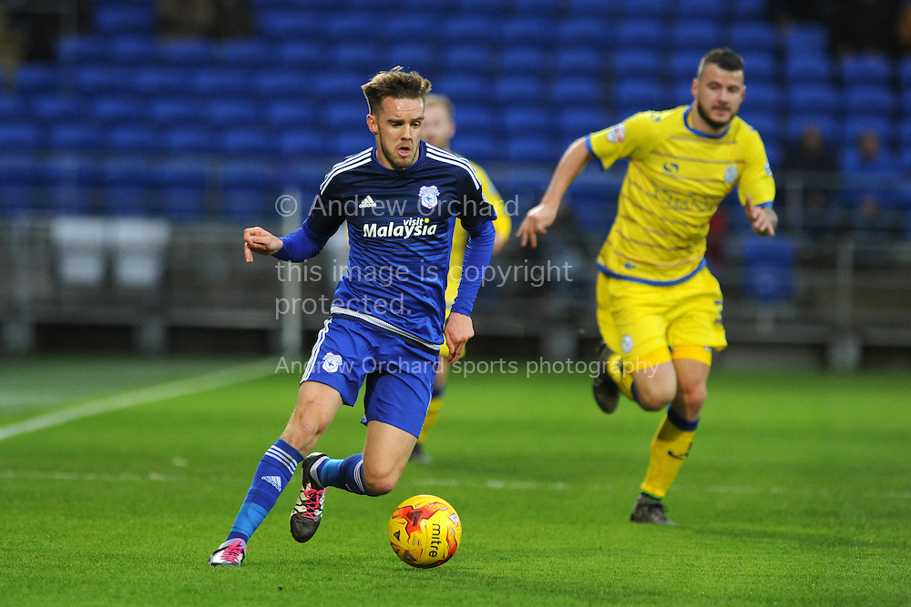 Craig Noone of Cardiff city makes a break. Skybet football league championship match, Cardiff city v Sheffield Wednesday at the Cardiff city stadium in Cardiff, South Wales on Saturday 12th December 2015.<br /> pic by Andrew Orchard, Andrew Orchard sports photography.