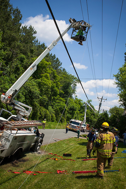 Fire department units from Albemarle County Fire Rescue, Crozet and Seminole Trail responded to the area of 3075 Morgantown Road in Ivy for a vehicle fire and special rescue. A bucket truck hit a power line, electrocuting the worker and starting the truck on fire.  Once power was turned off, Tower 88 from Seminole Trail was used to rescue the worker, who was burned.<br />