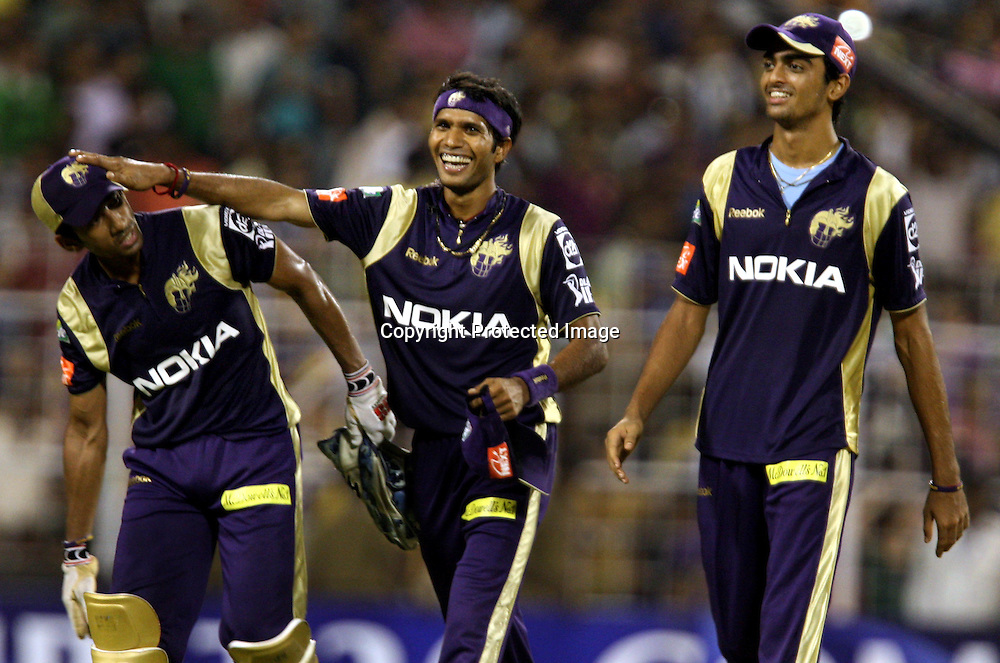 Kolkata Knight Riders Player Wriddhiman Saha , Ashok Dinda And Jaidev Unadkat During The  Indian Premier League - 56th match Twenty20 match | 2009/10 season Played at Eden Gardens, Kolkata 19 April 2010 - day/night (20-over match)