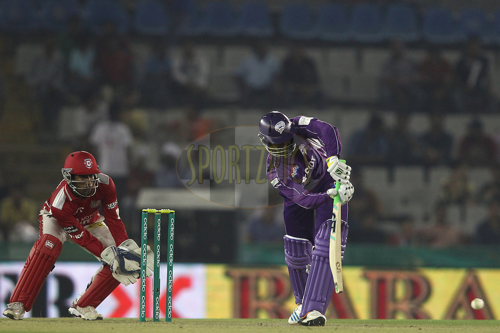 Shoaib Malik of the Hobart Hurricanes plays a delivery through the leg side during match 2 of the Oppo Champions League Twenty20 between the Kings XI Punjab and the Hobart Hurricanes held at the Punjab Cricket Association Stadium, Mohali, India on the 18th September 2014<br /> <br /> Photo by:  Shaun Roy / Sportzpics/ CLT20<br /> <br /> <br /> Image use is subject to the terms and conditions as laid out by the BCCI/ CLT20.  The terms and conditions can be downloaded here:<br /> <br /> http://sportzpics.photoshelter.com/gallery/CLT20-Image-Terms-and-Conditions-2014/G0000IfNJn535VPU/C0000QhhKadWcjYs