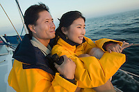 Couple wearing yellow anoraks on yacht