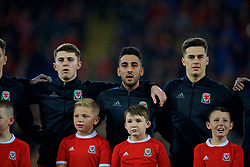 CARDIFF, WALES - Tuesday, November 14, 2017: Wales' Ben Woodburn, Neil Taylor and Tom Lawrence sing the national anthem before the international friendly match between Wales and Panama at the Cardiff City Stadium. (Pic by David Rawcliffe/Propaganda)