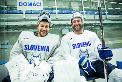 Robert Kristan of Slovenia, Tomaz Razingar of Slovenia during practice session of Slovenian Ice Hockey National Team at Day 4 of 2015 IIHF World Championship, on May 4, 2015 in Practice arena Vitkovice, Ostrava, Czech Republic. Photo by Vid Ponikvar / Sportida
