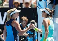 GARBI&Ntilde;E MUGURUZA (ESP) gratuliert der Siegerin COCO VANDEWEGHE (USA)<br /> <br /> Australian Open 2017 -  Melbourne  Park - Melbourne - Victoria - Australia  - 24/01/2017.