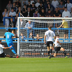 TELFORD COPYRIGHT MIKE SHERIDAN GOAL. Akwasi Asante makes it 2-0 during the National League North fixture between AFC Telford United and Chester FC at the New Bucks Head on Saturday, September 14, 2019<br /> <br /> Picture credit: Mike Sheridan<br /> <br /> MS201920-018