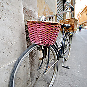 ROME, Italy - Bicycle with basket on the streets of Rome