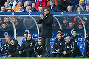 Brendan Rogers, manager of Celtic FC gestures during the Ladbrokes Scottish Premiership match between Rangers and Celtic at Ibrox, Glasgow, Scotland on 29 December 2018.