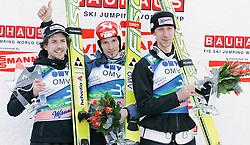 16.03.2012, Planica, Kranjska Gora, SLO, FIS Ski Sprung Weltcup, Einzel Skifliegen, im Bild Simon Amann (SUI), Robert Kranjec (SLO) und Martin Koch (AUT),  during the FIS Skijumping Worldcup Individual Flying Hill, at Planica, Kranjska Gora, Slovenia on 2012/03/16. EXPA © 2012, PhotoCredit: EXPA/ Oskar Hoeher