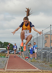 Erin Feerick Collier (Ballinrobe) competing in the girls U14 long jump at at the Mayo Community Games.<br /> Pic Conor McKeown