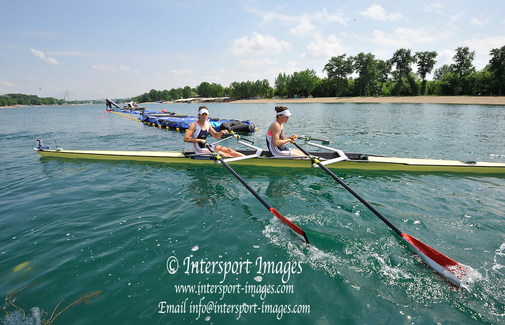 Belgrade, SERBIA.   AUT W2X, Magdalena Lobnig and  Katharina Lobnig. 2012   FISA World Cup I.   Friday  04/05/2012 [Mandatory Credit. Peter Spurrier/Intersport Images]