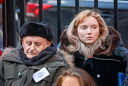 © Licensed to London News Pictures. 09/12/2019. London, UK. Lily Cole actress and model pictured with Peter Cole (no relation) on his 22nd of the Extinction Rebellion Hunger strike outside Conservative party HQ in Westminster as XR continue their Twelve Days of Crisis a nonviolent direct action climate change protest from 30 November until the eve of the Election Day on 12th December .Photo credit: Alex Lentati/LNP