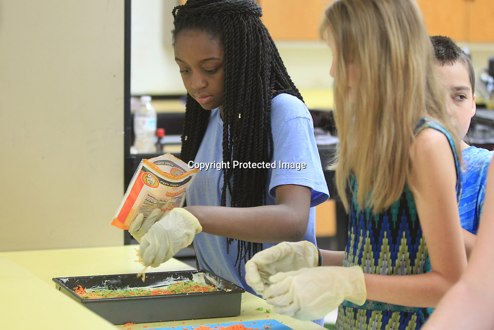 Shaniah Gill, 12, spreads chees on top of the Veggie Bites in the Math Enrichment Program taught by Maia Miller at New Albany Middle School.