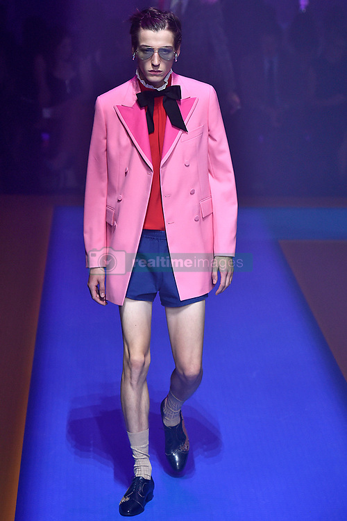 Model Nick Fortna walks on the runway during the Gucci Fashion Show during Milan Fashion Week Spring Summer 2018 held in Milan, Italy on September 20, 2017. (Photo by Jonas Gustavsson/Sipa USA)