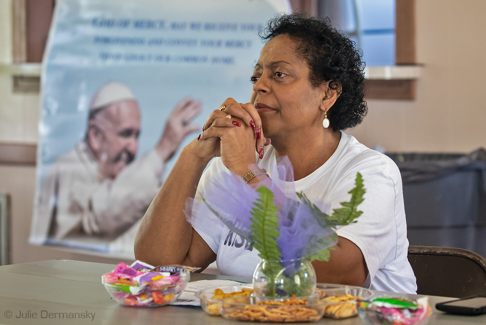 Feb. 23, 2019,  Sharon Lavigne, founder of Rise St. James at Rise St. James at a meeting held in St. James, where  activist, lawyers, resdients who don't want Formosa to be build near their homes and pastors met to come up with a plan to stop the plant from being built.