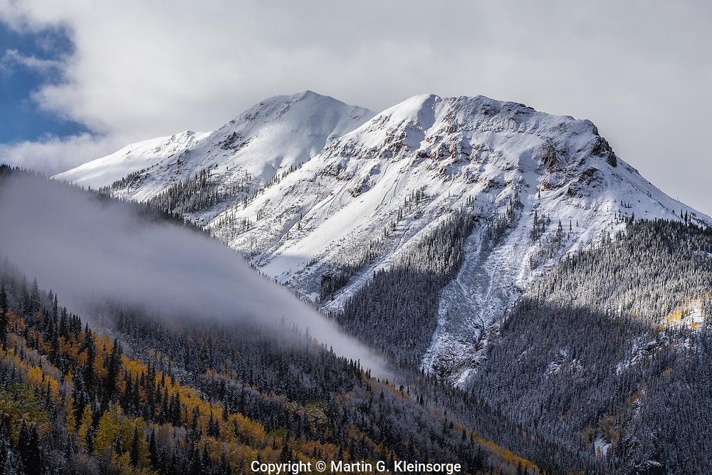 First snow storm of the autumn season over 12,592 ft. Red Mountain #1.  San Juan Mountains, Colorado.