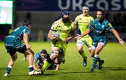 Josh Strauss of Sale Sharks takes on James Marshall of London Irish - Mandatory by-line: Matt McNulty/JMP - 15/09/2017 - RUGBY - AJ Bell Stadium - Sale, England - Sale Sharks v London Irish - Aviva Premiership