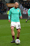 Aston Villa defender Alan Hutton (21) warming up prior to the EFL Sky Bet Championship match between Hull City and Aston Villa at the KCOM Stadium, Kingston upon Hull, England on 31 March 2018. Picture by Mick Atkins.