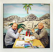 Lunch with two of my favorite Tijuana artists, Enrique Ciapara and Franco Mendez Cavillo..http://www.stefanfalke.com/.© Stefan Falke..