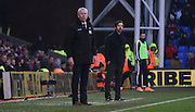 Alan Pardew watches on from the sidelines during the Barclays Premier League match between Crystal Palace and Watford at Selhurst Park, London, England on 13 February 2016. Photo by Michael Hulf.