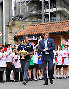 London, England. HRH Prince Harry, Honorary President of England Rugby 2015 walks with England World Cup winner Jonny Wilkinson as he carries the Webb Ellis Trophy at the Launch of the Rugby World Cup Trophy Tour at Twickenham Stadium on June 10, 2015 in London, England. Photo Michael Paler/ Photosport.co.nz