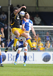 Bristol Rovers' Seanan Clucas battles for the high ball - Photo mandatory by-line: Joe Meredith/JMP - Mobile: 07966 386802 03/05/2014 - SPORT - FOOTBALL - Bristol - Memorial Stadium - Bristol Rovers v Mansfield - Sky Bet League Two