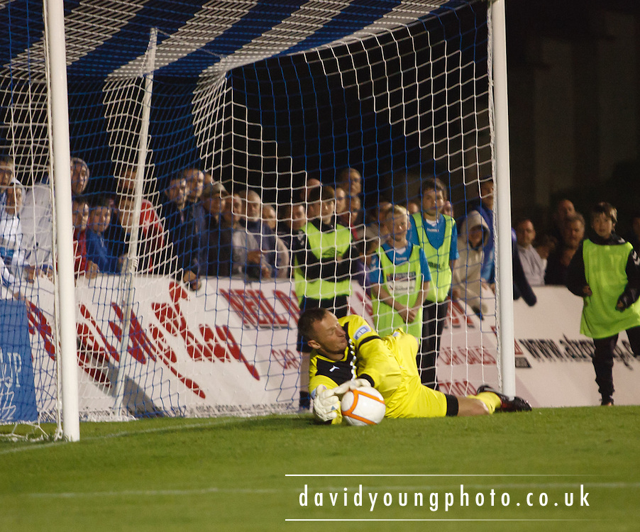 Dundee's Robert Douglas saves Callum MacDonald's penalty - Peterhead v Dundee,  Scottiish Communities League Cup at Balmoor... - © David Young - 5 Foundry Place - Monifieth - DD5 4BB - Telephone 07765 252616 - email: davidyoungphoto@gmail.com - web: www.davidyoungphoto.co.uk