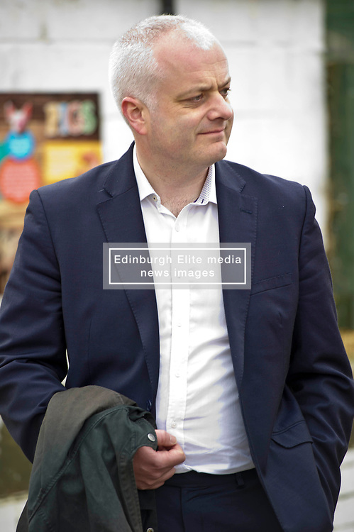 Pictured: Mark Ruskell<br /> Scottish Greens on local election campaign trail. Mark Ruskell MSP, the party's environment spokesperson, joined candidate for the Sighthill/Gorgie ward Dan Heap on a visit to Gorgie city farm. The pair met Chief executive of the farm, Josiah Lockhart and Develoopment and fundraising manager, Sarah Campbell during their tour.<br /> <br /> <br /> Ger Harley | EEm 19 April 2017