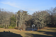 Roslyn, New York, USA. January 2, 2015. In winter, the grounds of the Nassau County Museum of Art China Now and Then Exhibit on Long Island.