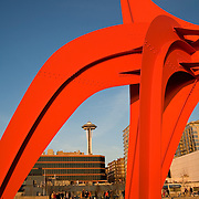 Seattle Art Museum Olympic Sculpture Park, Seattle, WA; Eagle sculpture, Alexander Calder, 1971, painted steel, a gift to the park by Jon and Mary Shirley; Seattle Space Needle in the background.
