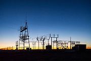 Tri-County Electric Co-operative power substation in the Oklahoma panhandle at sunrise.